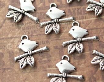 10 Tiny Bird Charms Bird Pendants Antiqued Silver Tone 16 x 14 mm