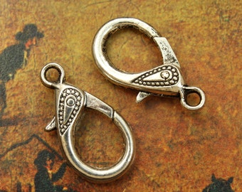 5 Large Lobster Clasp antique silver tone