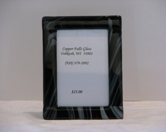 Black and White 5x7 Fused Glass Picture Frame