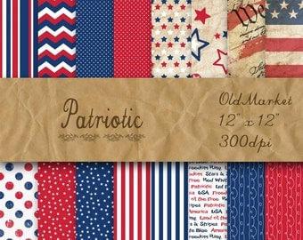 Patriotic Digital Paper - 4th of July Paper Backgrounds -  16 Scrapbook Papers - 12in x 12in - Commercial Use -  INSTANT DOWNLOAD