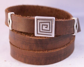 Brown Leather Triple Wrap with Old Silver Spiral and Diamonds