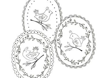 Bird Embroidery Pattern Set, 3 Bird patterns,  Woodland Animal Printable Digital Downloadable 0037
