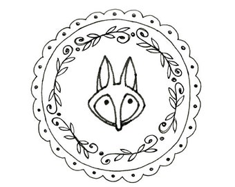 Fox Hand Embroidery Pattern Printable Woodland Animal Digital Downloadable Download 0008
