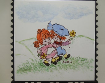Vintage Cast Iron Raggedy Ann and Andy Trivet, Hand Painted, Vintage Cast Iron Tile Trivet, Vintage Cast Iron Hot Plate Wall Trivet