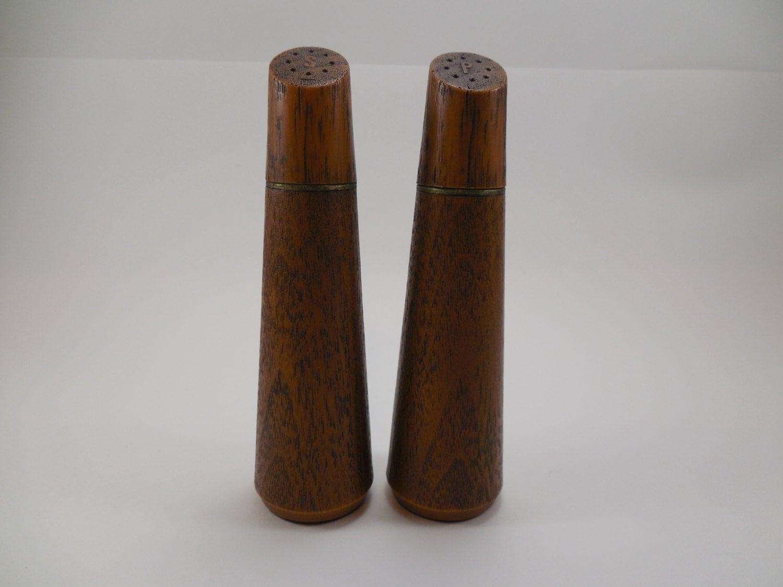 Vintage Westwood Wood Grain Finish Salt Pepper Shakers West