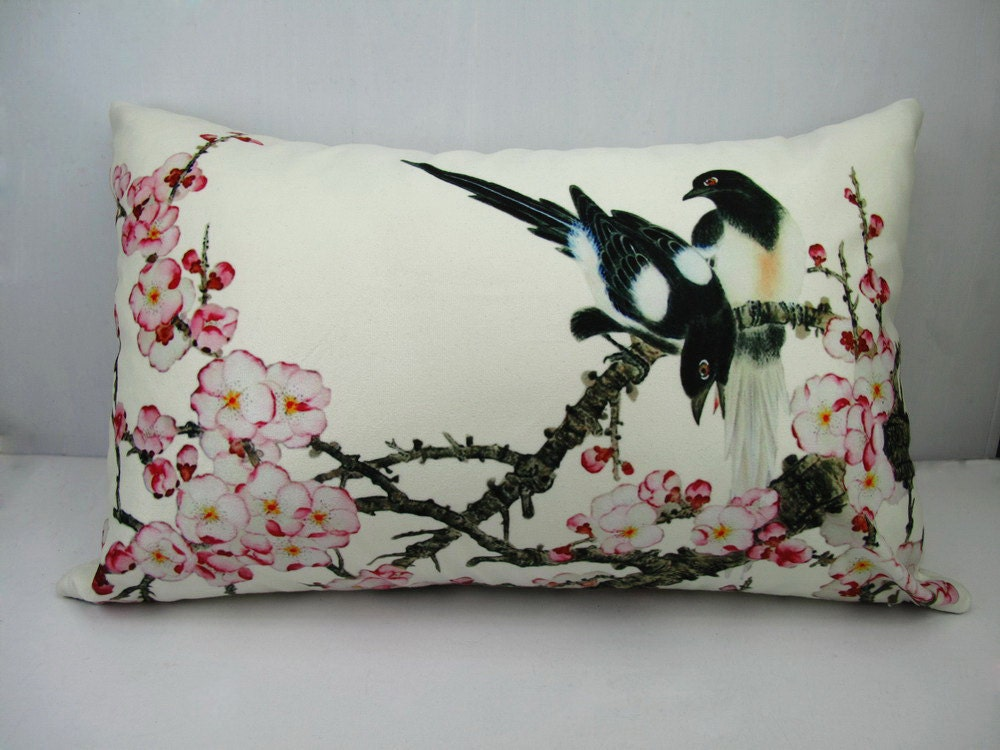 Rectangular Throw Pillow Covers : Bird pillow cover decorative rectangle velvet throw pillow