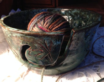 Hand Thrown Hand Carved Dragonfly Large Yarn Bowl Custom Made