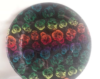 Sugar Skull Glass Decoupage Plate