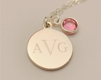 Small Custom Engraved Monogram Charm Necklace INCLUDING Birthstone, Graduation, Personalized Jewelry