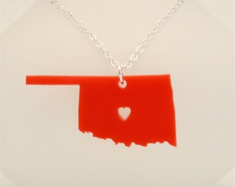 Oklahoma State Necklace, Custom Made LDR Necklace, Custom Made Going Away Gift, Long Distance Relationship, Personalized Jewelry