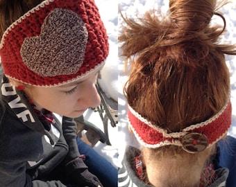Sock Monkey Colored Heart Headband/Valentine's Day Headwrap
