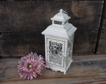 Ornate Metal Lantern ~ Distressed Creamy White Gold Accents ~ Tea-Light tealight Candle Holder ~ Wedding Centerpiece Elegant Decor
