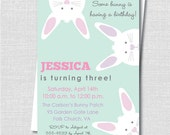 Peek a Boo Bunny Birthday Invitation - Pastel Easter or Spring Birthday Invite - Digital Design or Printed Invitations - FREE SHIPPING