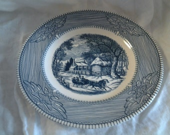 On Sale Antique China Currier and Ives Winter Scene Monarch Decorative 10 inch Plate