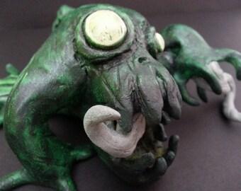 Glow in the Dark Creature by Caleb Rocha, Creepy Cute Monster Sculpture , Polymer, OOAK