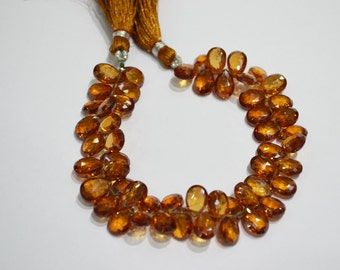 AAA Quality Mandarian Garnet color cubic zerconia Pear Faceted 7 inch strand