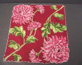 Burgundy floral handkerchief / vintage bold graphic hankie / chrysanthemum