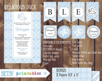 Religious celebration Kit, Baptism, Christening, First Communion, Confirmation DIY Editable - INSTANT DOWNLOAD 103