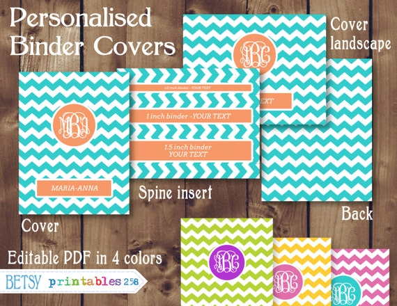 binder cover in 4 colors personalized editable pdf instant