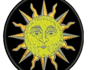 Sun solar celestial embroidered patch astrology esoteric zodiac