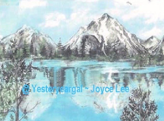 The Tetons   This Giclee Print is from an original acrylic  painting by Wyoming Artist Joyce Lee