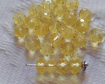 25  Light Yellow Faceted Rondelle Crystal Beads   4mm x 6mm