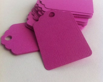 Set of 50 fuchsia tags , dark  pink   Tags , Favor Tags, Treat Bag Tags, Product Tags, Hang Tags, Wish Tree Tags, birthday tags ,