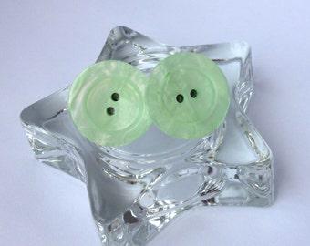 Mint Shine Button Earrings