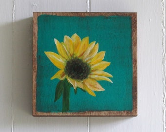 Hand Painted Sunflower 6x6 Art Block