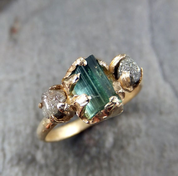 CUSTOM Raw Blue Green Tourmaline Diamond Gold Engagement Ring