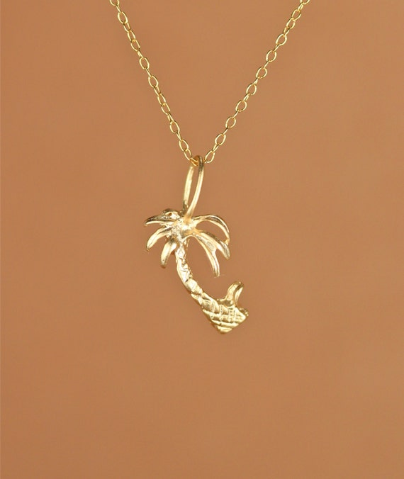 Palm tree necklace - gold palm tree - palm tree charm - tropical - beach necklace - a gold vermeil palm tree on a 14k gold vermeil chain