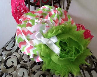 Hot pink lace headband, pink and lime green headband, green headband, pink girls headband, baby headband, flower headband hair accessory
