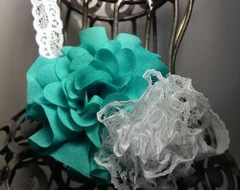 Aqua headband, soft aqua and white lace headband, girls headband made from aqua and lace flowers