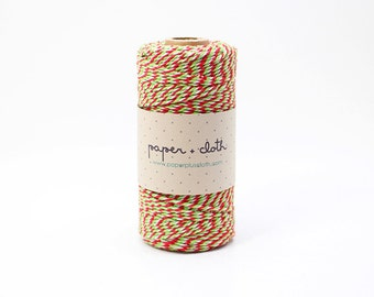12ply 3 Color Christmas Bakers Twine 100yds