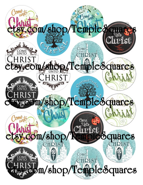 """Printable Digital File. Variety of designs on 2"""" circles LDS Come Unto Christ craft circles"""