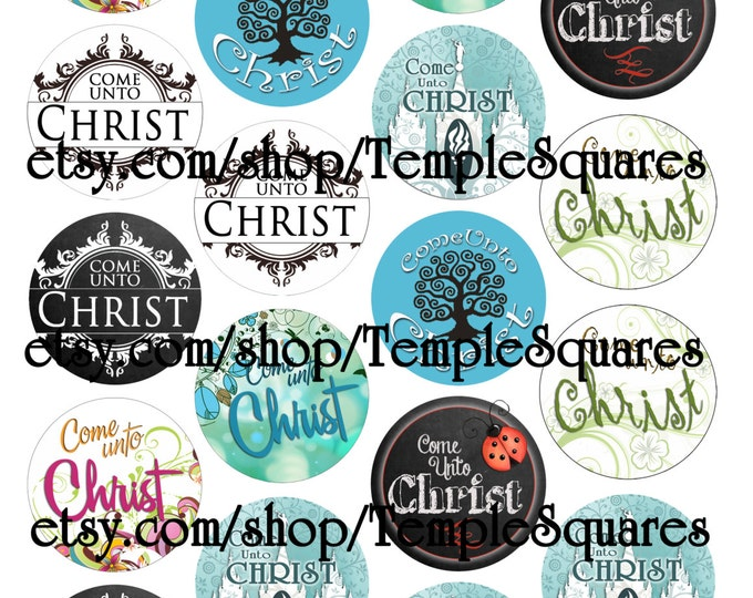"Printable Digital File. Variety of designs on 2"" circles LDS Come Unto Christ craft circles"