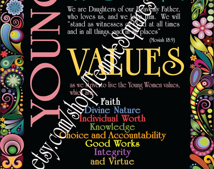 Printable Young Women Values POSTER files! YW Personal Progress Poster 11x14, 16x20, 18x24 and Super LARGE 20x30 high res files