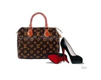 Art Print of CHRISTIAN LOUBOUTIN Black Shoes, Louis Vuitton Monogram Speedy Bag, Fashion Gifts, Wall Art