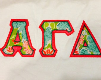 Sorority letter shirt made with Lilly Pultizer fabric