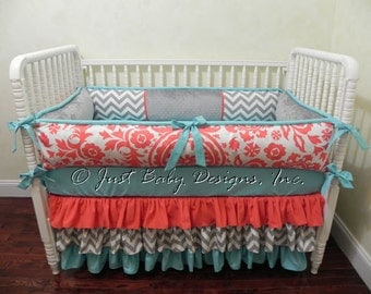 Custom Baby Bedding Set Calliope  - Girl Baby Bedding, Coral Baby Bedding, Gray Chevron, and Turquoise