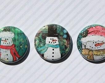 "3 badges 1 ""Mixed Media Christmas"