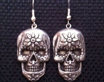 Mexican Day Of The Dead Sugar Skull Earrings