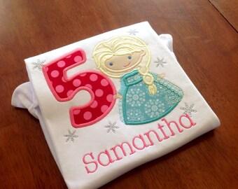Frozen Princess Birthday Shirt-personalized birthday shirt-girls princess-snowflake princess applique-snowflake birthday