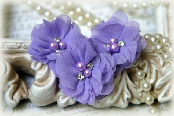 Lila Chiffon Blumen mit Perlen und Strass-Center, Stirnbänder, Kleidung, Nierenwärmer, Crafting, Set 3, ca. 2 cm breit, FL-175
