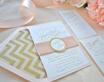 Romantic Blush Wedding Invitation Collection-->>Sample