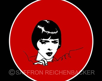 Louise Brooks Pocket Mirror - Lulu - Weimar Berlin - red - Art Deco - 1920s - silent film star