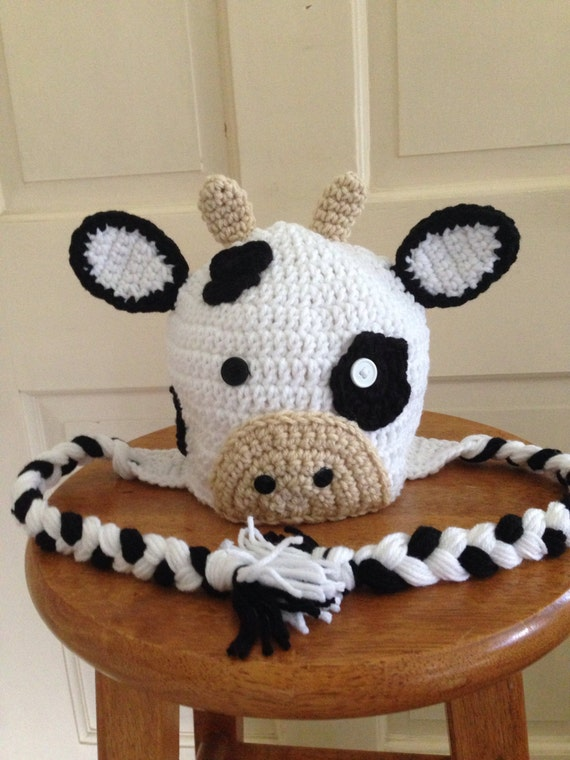 Free Crochet Pattern For Cow Hat : Crocheted Cow Hat