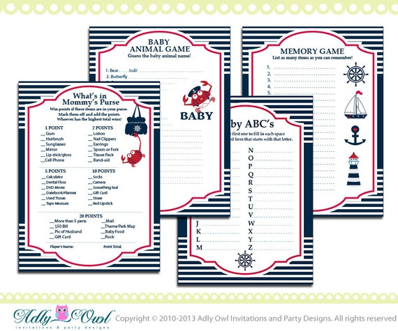 Essential Nautical Baby Shower Game Pack Printable For A Nautical Boy    Anchor,sailboat, Navy, Crab, Red  ONLY Digital File   You Print Ao41