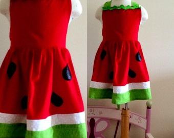 Mother-daughter matching watermelon apron set