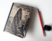 The Gherkin, London - A5 Soft Cover Notebook Handmade with Linoprinted Manilla Cover